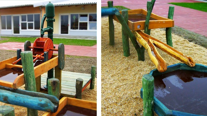 wasserspielpl tze und spielanlagen zum matschen wasserspiel aus robinienholz und edelstahl. Black Bedroom Furniture Sets. Home Design Ideas